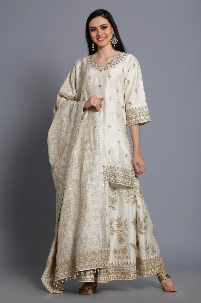 Silk chanderi Short tunic with embroidered sharara and banarasi dupatta
