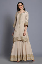 Pure crepe short tunic with sharara and Banarasi dupatta