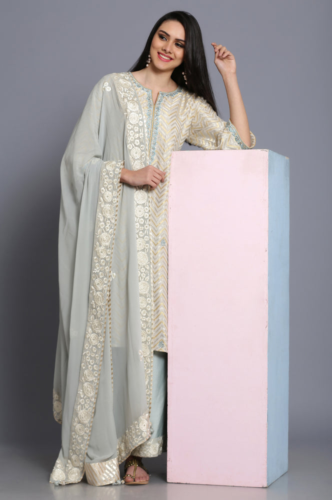 Cheveron banarasi straight tunic with farshi and dupatta