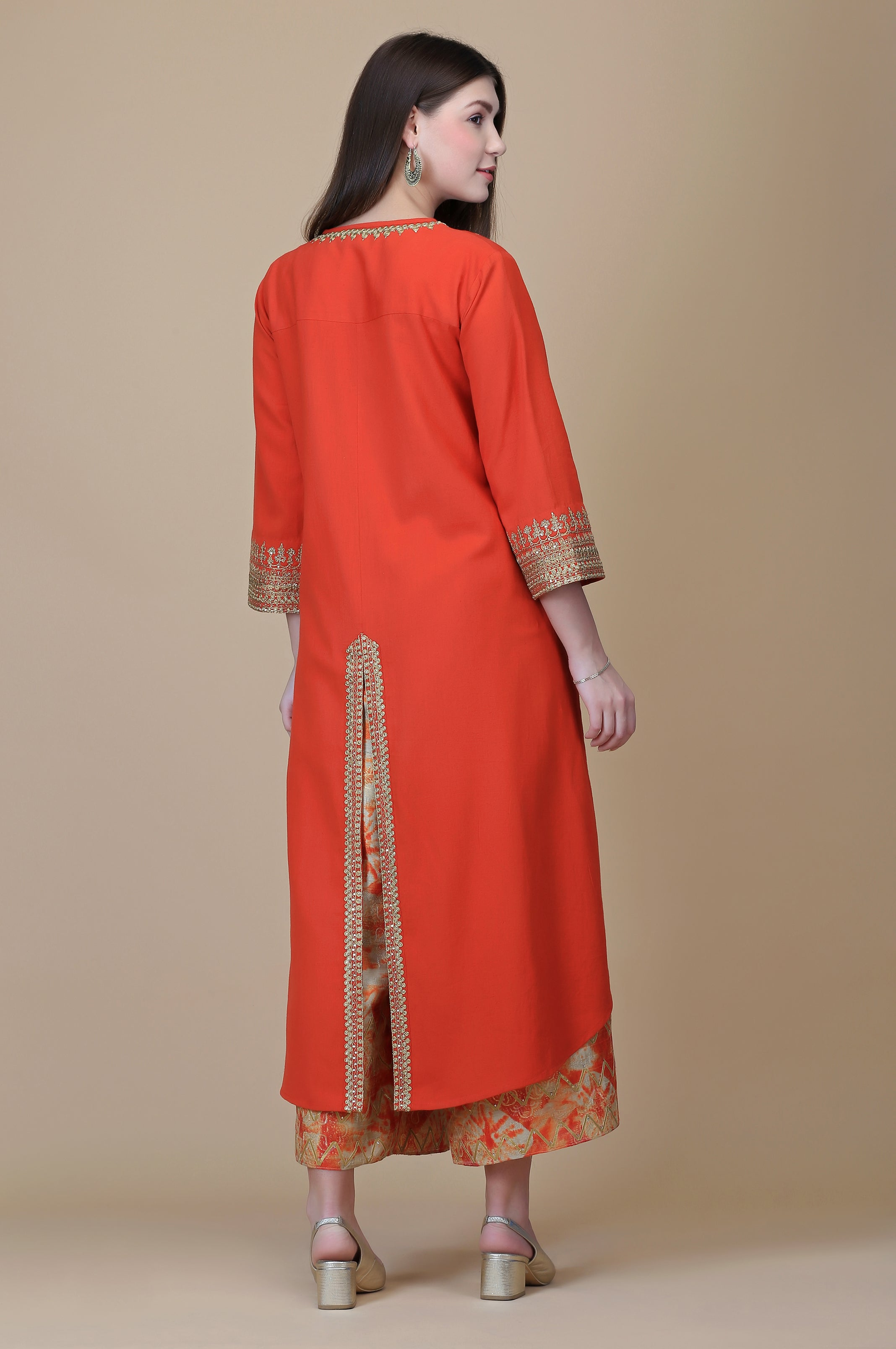 BURNT ORANGE LINEN TUNIC WITH DISCHARGE FARSHI