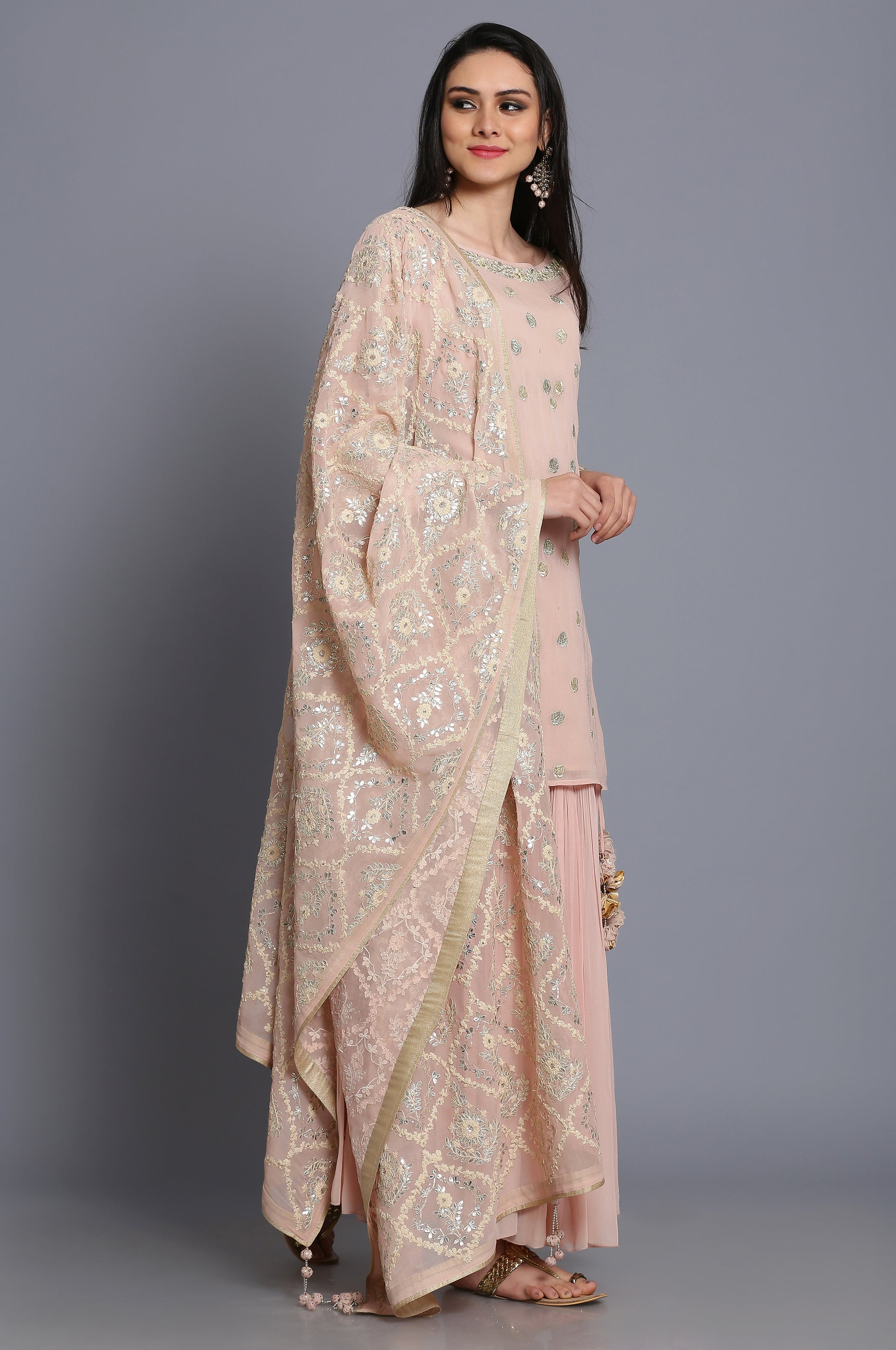 Georgette short tunic with skirt and heavy dupatta