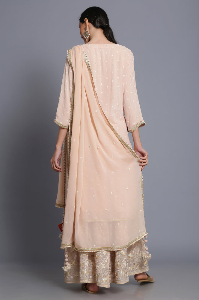 Georgette Straight tunic with embroidered sharara and dupatta