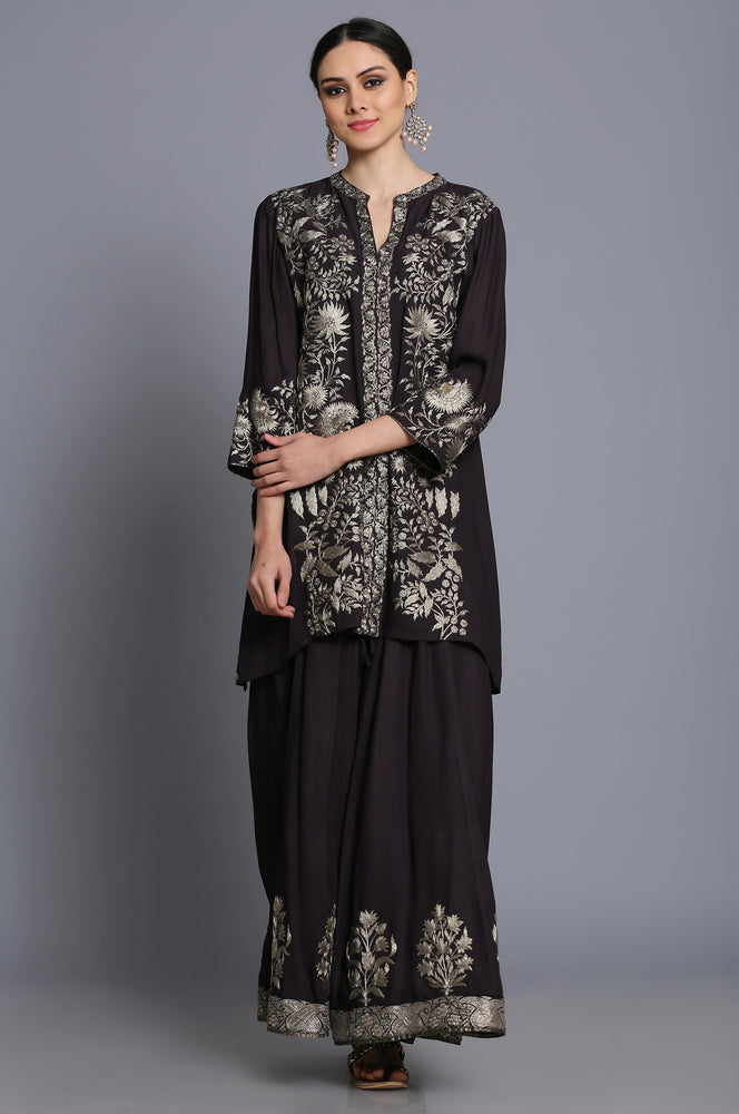 Heavy georgette Assymetrical tunic with sharara