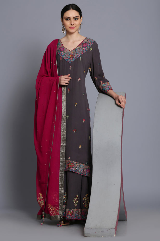 Georgette straight tunic with sharara and dupatta