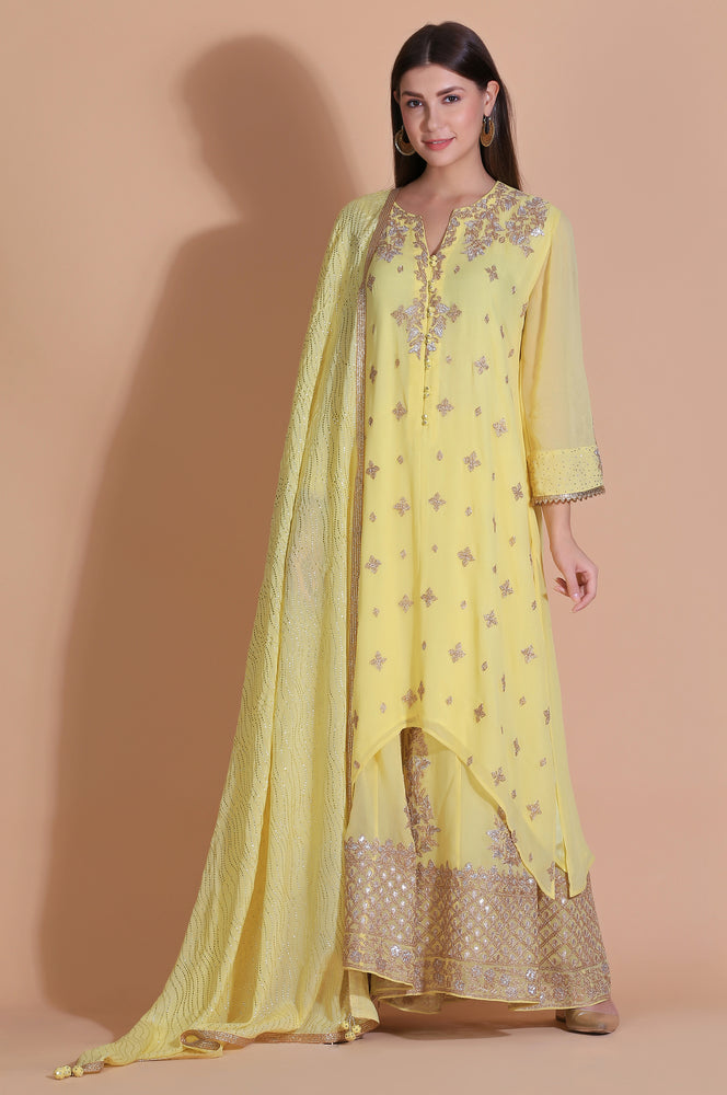 Embroidered Kurta with Embellished Plazzo
