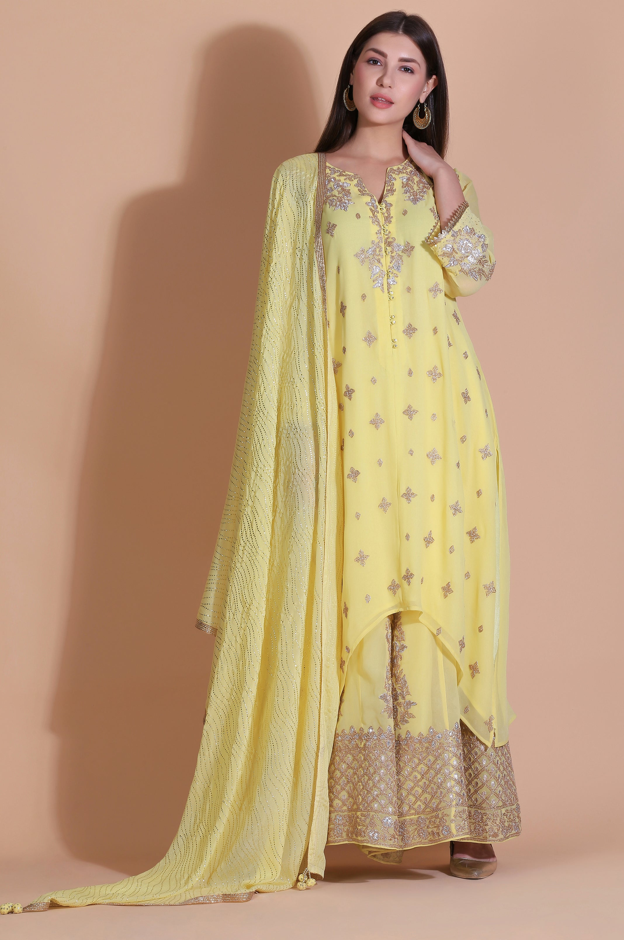 Asymmetrical Georget Tunic with Sharara | Sunshine Yellow
