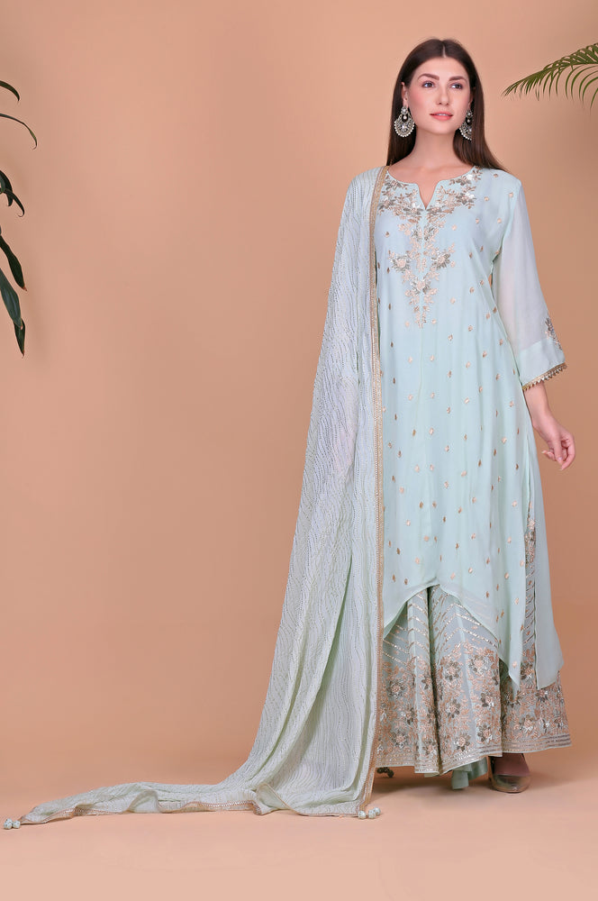 Asymmetrical Georget Tunic with Sharara | Ice Blue
