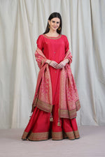 Watermelon pink straight tunic with sharara and bandhej dupatta