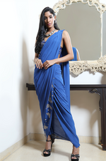 Bandhej blouse with drape saree & pants