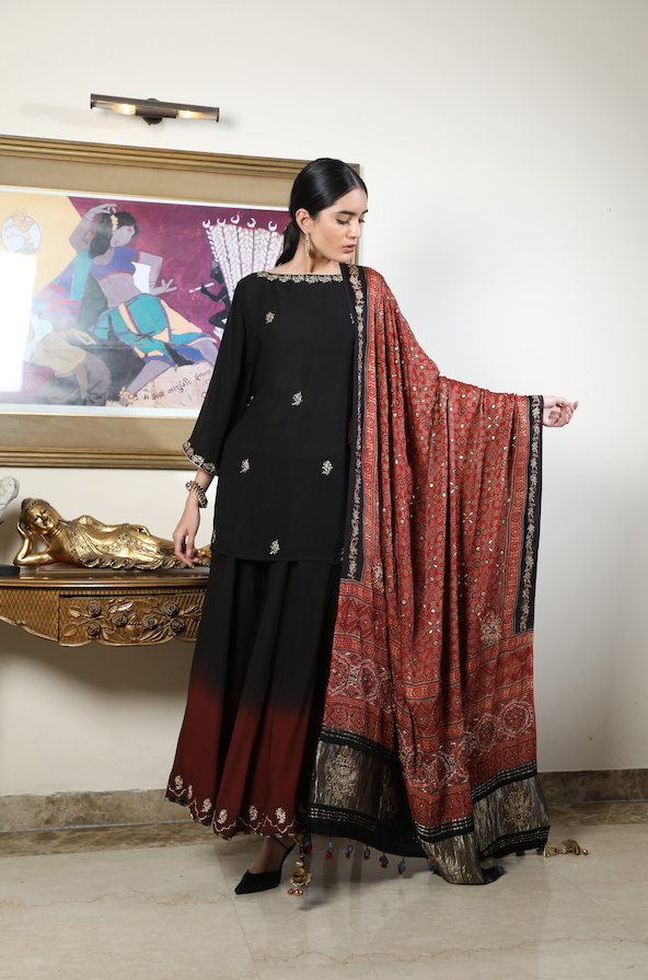 Short Tunic with Ombre Sharara and Dupatta