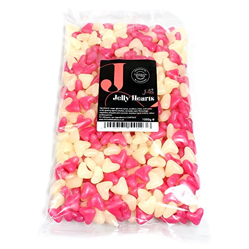 Just Treats Pink and White Jelly Hearts (Strawberry and Vanilla) (1 Kilo Party Bag)