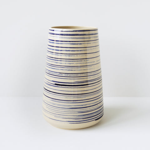 Large Vase, Blue Pinstripe
