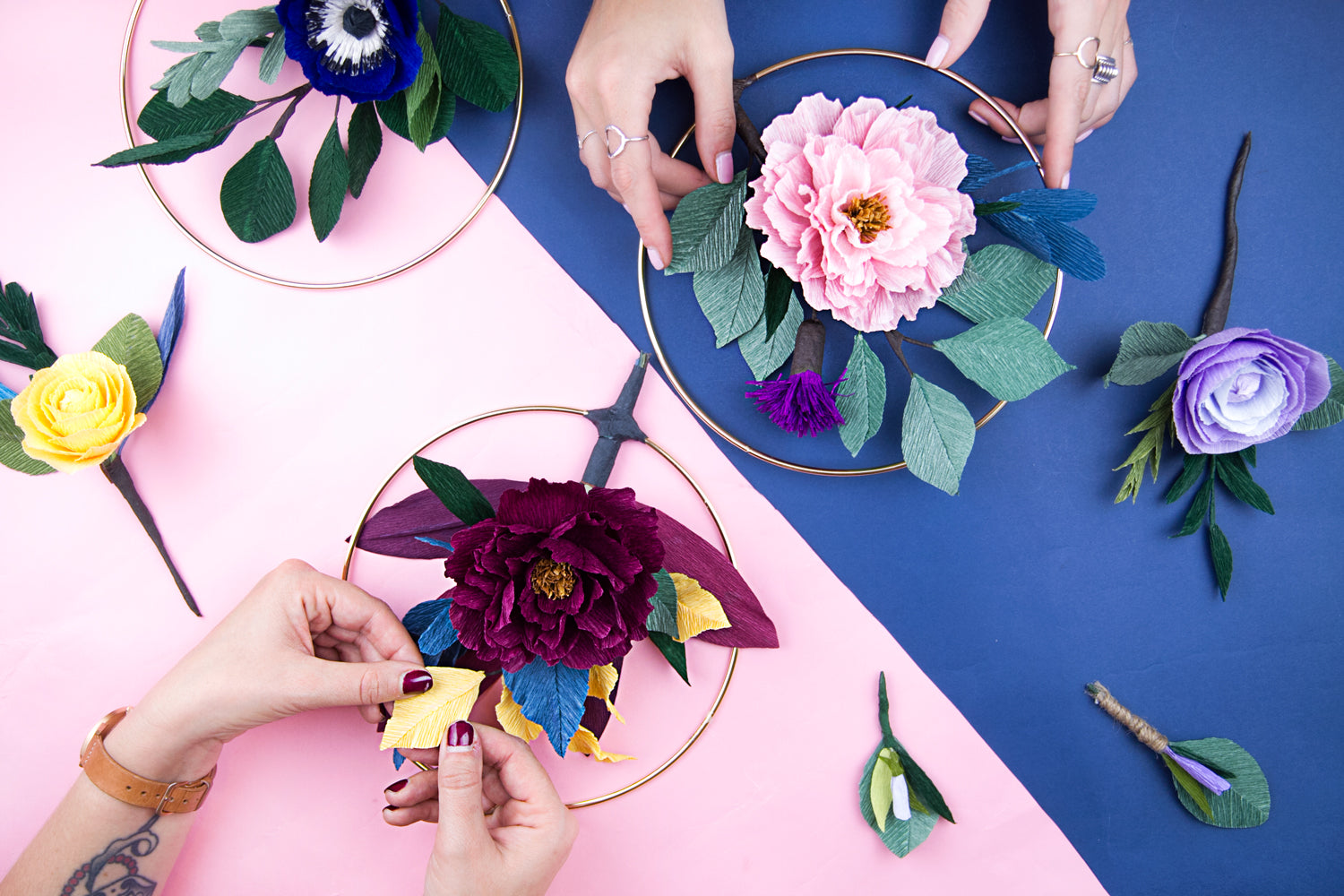 Paper Flower Wreath workshop