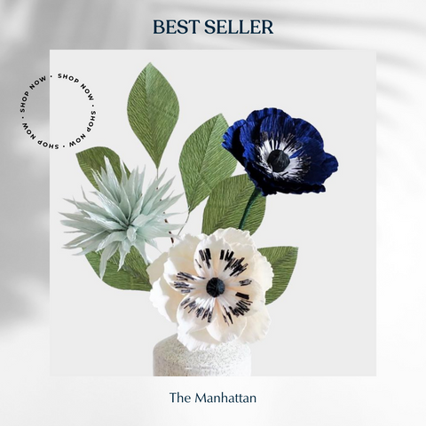 handmade paper flowers blue and white anemones for housewarming gift, home decor, handmade paper flowers. Decorated with green leaves