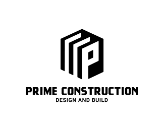 logo design for construction black version of letter p logo maker idea in hexagonal shape free logo customization