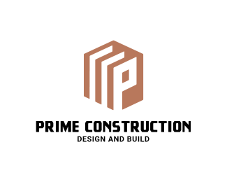 logo design for construction color version of letter p logo maker idea in hexagonal shape free logo customization