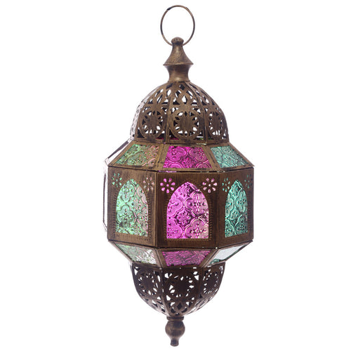Gold Effect Intricate Glass Moroccan Octagonal Lantern