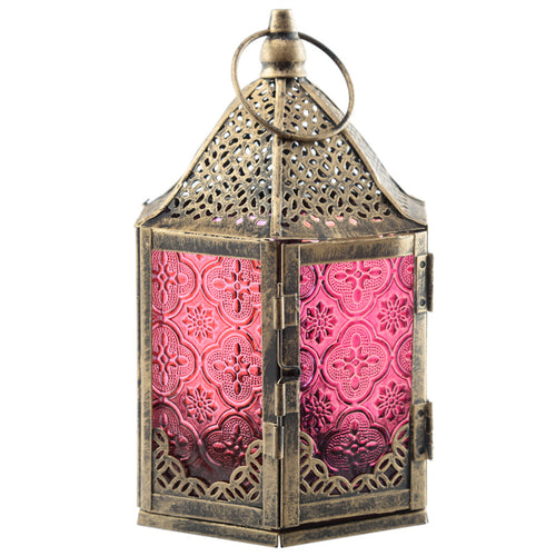 6 Sided Glass Moroccan Metal Standing Lantern