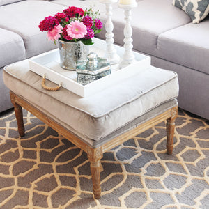 Moroccan Pattern Hand Tufted Grey & Cream Rug