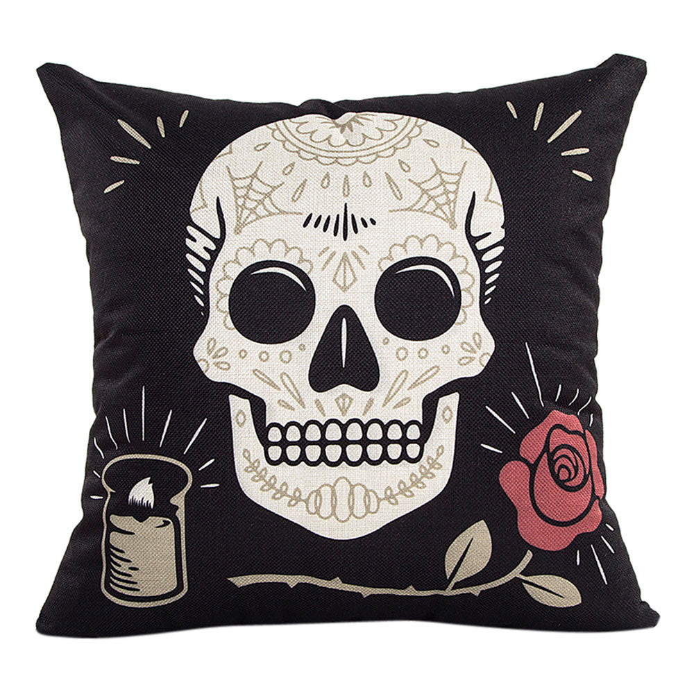 Mexican Day of the Dead Skull Cushion Cover