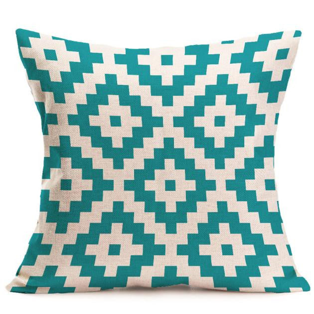Geometric Print Square Cushion Cover