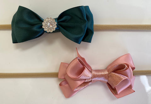 Princess Bows: Dark Green and Pink