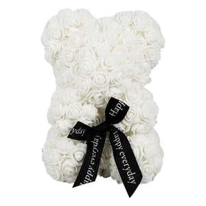 23Cm Foam Bear Of Roses Bear Rose Flower Artificial New Year Gifts For Women Valentines Gift