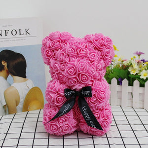 Valentines Romantic Gift box PE Rose Bear Artificial Rose Decorations Cute Cartoon girlfriend Kid Gift