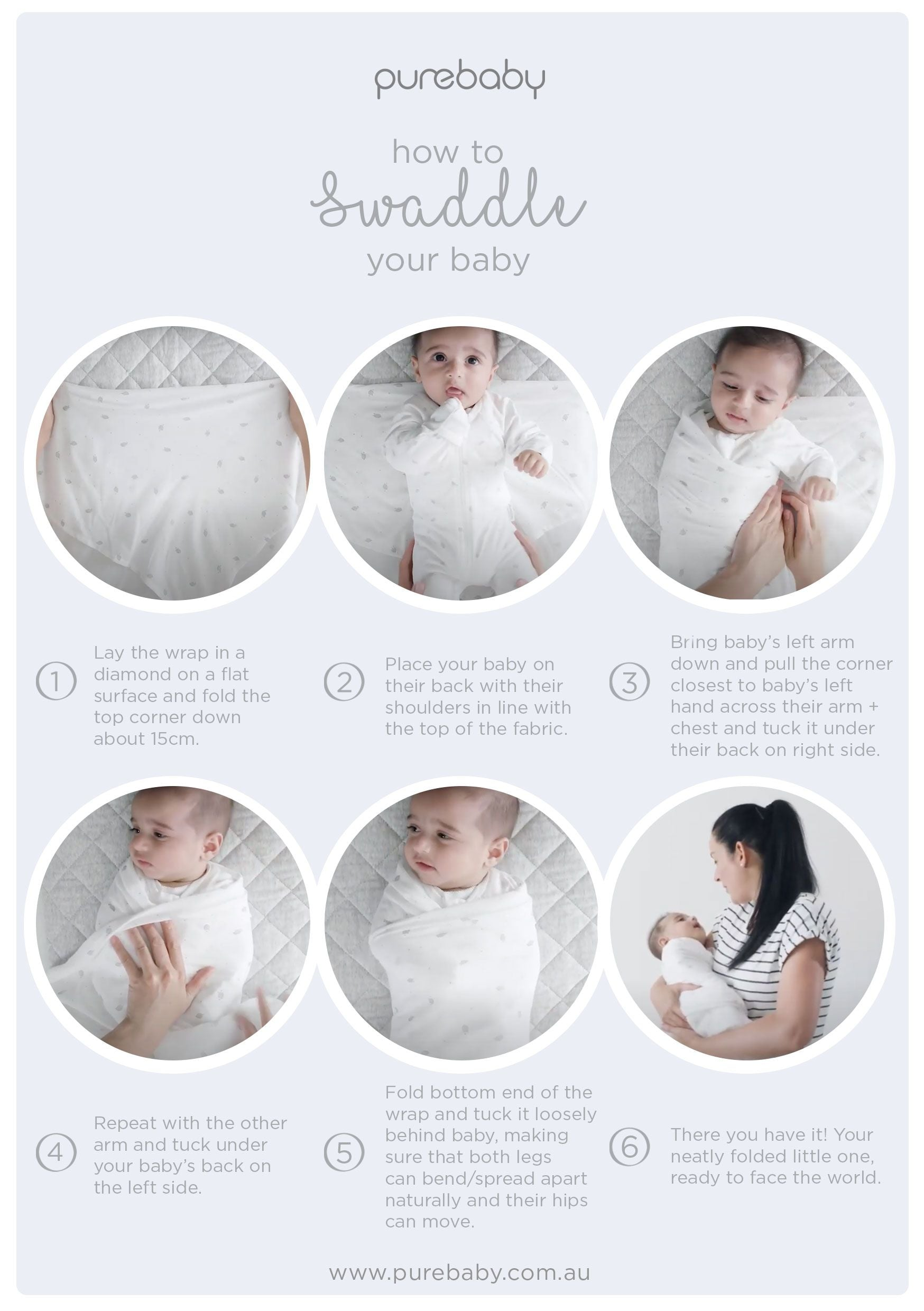 Purebaby How to Swaddle a Baby