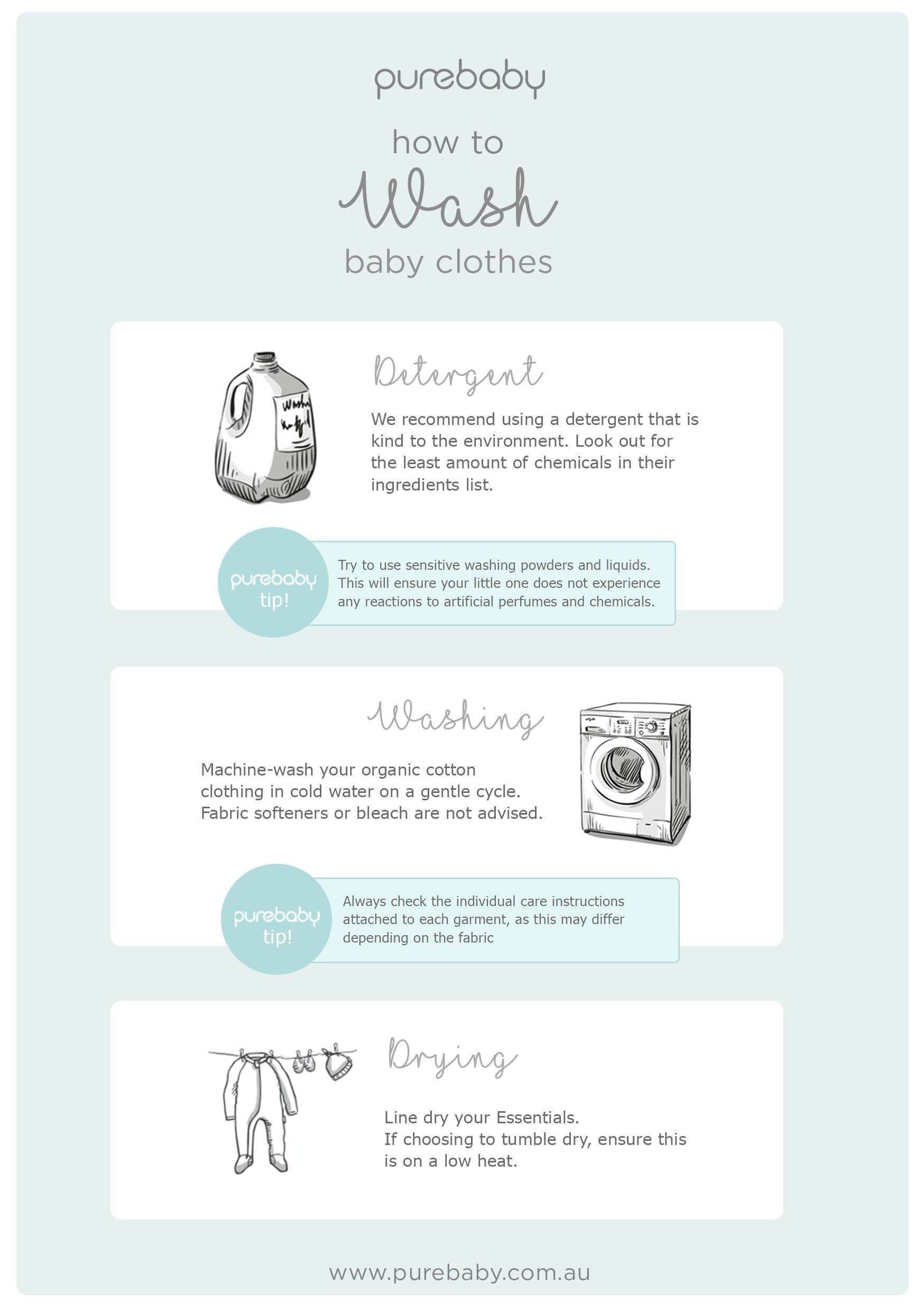 Purebaby How to Wash Baby Clothes