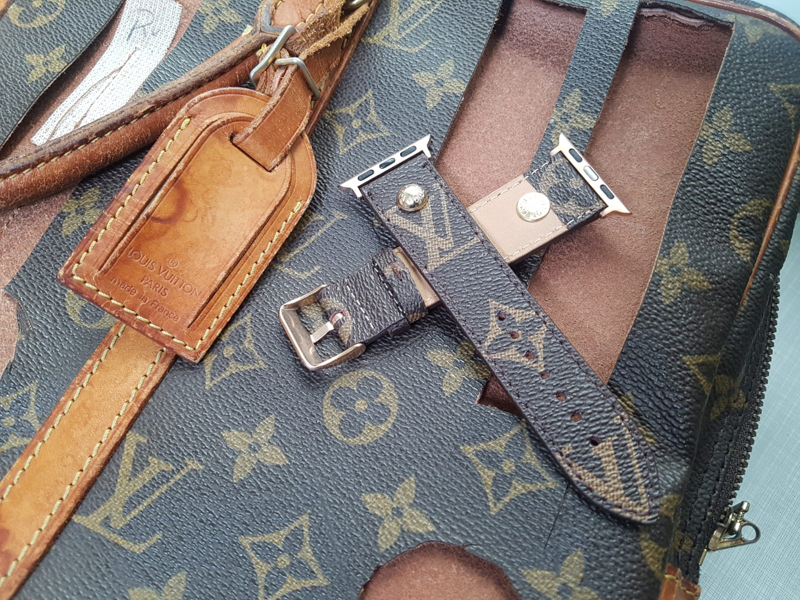 Handmade Louis Vuitton Apple Watch Band Series 6 5 4 3 2 1 Authentic Strap Store