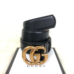 Gucci Belt, GG Leather belt with Double G buckle