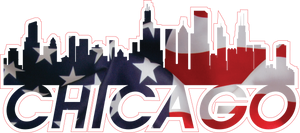City of Chicago Illinois skyline Vinyl Sticker with flag - FREE SHIPPING