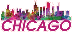 City of Chicago skyline Vinyl Sticker in watercolor - FREE SHIPPING
