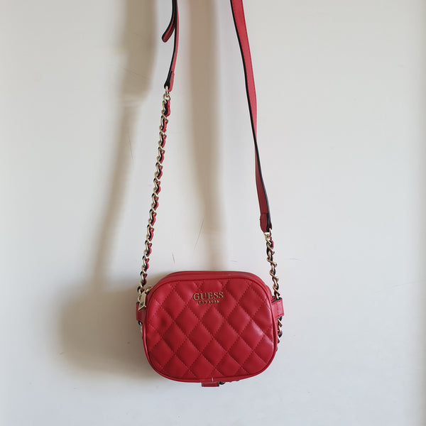 pretty cool stylish design low price Guess Sweet Candy Quilted Mini Crossbody Bag (Red)
