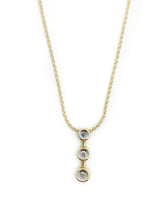 "Load image into Gallery viewer, 10K Yellow Gold 3 Diamond pendant with 16"" yellow gold wheat chain"