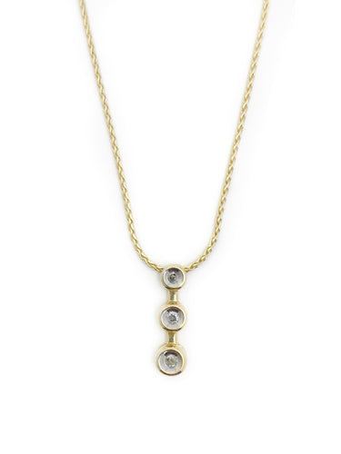 10K Yellow Gold 3 Diamond pendant with 16