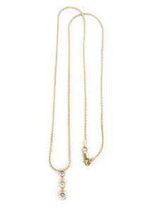 "10K Yellow Gold 3 Diamond pendant with 16"" yellow gold wheat chain with lobster clasp"