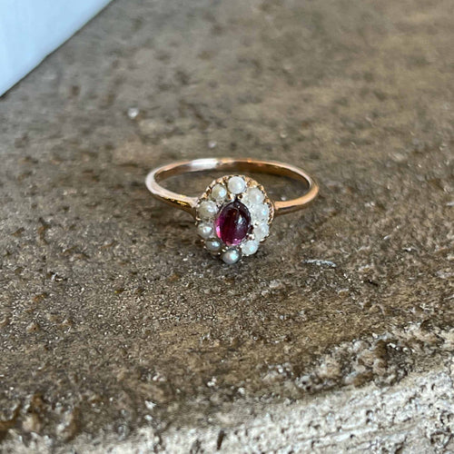 Women's 14K Rose Gold Tourmaline Ring Surrounded by a halo or Seed Pearls for a Vintage inspired look