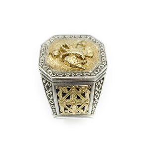 18K Yellow Gold  .925 Sterling Silver