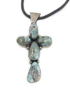 5 Stone Turquoise Cross Necklace .925 Silver Brown Leather Cord Well Built