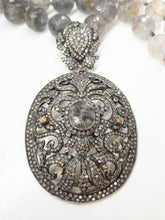 Load image into Gallery viewer, Victorian Style Salt And Pepper 10K White Gold Necklace And Pendant Quartz Beads Vintage