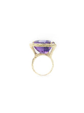 Load image into Gallery viewer, Purple Amethyst & 14K Yellow Bark Finish Gold 18.53ct. Trillion Step Cut Amethyst Size 6