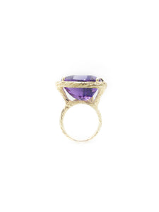 Purple Amethyst & 14K Yellow Bark Finish Gold 18.53ct. Trillion Step Cut Amethyst Size 6