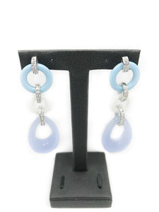 Angelique De Paris .925 sterling silver resin & CZ Dangle Earrings
