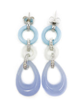 Load image into Gallery viewer, Angelique De Paris .925 sterling silver resin & CZ Dangle Earrings