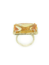 Load image into Gallery viewer, Checkerboard-Cut-11.85ct-Rectangular-Citrine-and-14K-Yellow-Gold-Bark-Finish-Size-5-Ring