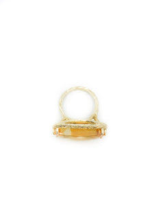 Checkerboard-Cut-11.85ct-Rectangular-Citrine-and-14K-Yellow-Gold-Bark-Finish-Size-5-Ring