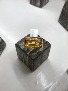Checkerboard-Cut-11.85ct-Rectangular-Citrine-and-14K-Yellow-Gold-Bark-Finish-Size-5-Ring-on-wood-block