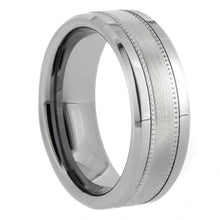 Load image into Gallery viewer, Silver Milgrain and Satin Tungsten Ring